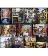 ตัวอย่างงานภาพวาดสากล Architecture Towns painting