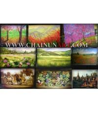 ตัวอย่างงานสากลภาพวาดแบบต่างๆ Natural Landscape Animals painting