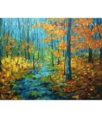 ภาพวาดธรรมชาติป่าไม้ ฤดูใบไม้ร่วง  สีอะครีลิคบนผ้าใบ