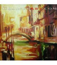 ภาพวาดบ้านเมืองเวนิช Venice Italy