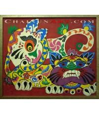 ภาพวาดรูปแมวภูฏานนำโชคแมวสองตัว