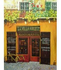 ภาพวาดร้านกาแฟในเมืองอิตาลี