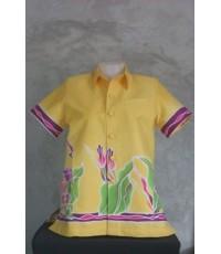 เสื้อทรงซาฟารีแขนสูทผ้าบาติกสีเหลืองนวล