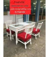 โต๊ะเพ้นท์เล็บสีขาวสไตล์วินเทจ  โต๊ะทำเล็บเจล