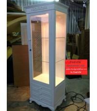 ตู้โชว์สีขาวราคาถูก  สไตล์วินเทจ ตู้โชว์กระเป๋า ตู้โชว์เครื่องสำอาง ตู้โชว์อื่นๆราคาโรงงาน