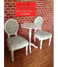 โต๊ะร้านกาแฟ สไตล์วินเทจ โต๊ะร้านกาแฟราคาถูก โต๊ะสีขาวเพ้นท์ลาย เฟอร์นิเจอร์ราคาโรงงาน