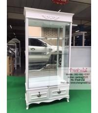 ตู้กระจกโชว์สีขาวสไตล์วินเทจ ตู้โชว์กระเป๋า ตู้โชว์เอนกประสงค์ ราคาโรงงาน