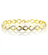 Buy Cheap Two-tone Sterling Silver  Diamond Infinity Link Bracelet