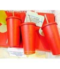 +แก้วสตาร์บัคอเมริกาStarbucks USA แดงด้านที่ใครๆตามหา Stainless Steel ColdCup - Matte Red 16 fl oz