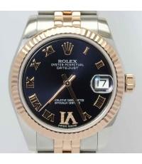 Rolex Boy Size 178271 Date Just หน้าปัดน้ำเงินเข้มฝังเพชรVI ขอบPink Gold สายจูบิลลี่ตันรุ่นใหม่