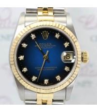 Rolex Boy Size 68273 หน้าปัดน้ำเงินทูโทนฝังเพชรเบ้าเล็ก ตัวเรือนและสาย 2 กษัตริย์