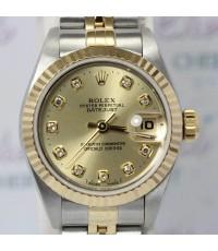Rolex Lady Size 69173 Date Just หน้าปัดทองฝังเพชรเบ้าใหญ่ ตัวเรือนและสาย 2 กษัตริย์