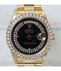 Rolex Day-Date King Size 18038 หน้าปัดดำฝังเพชรเรือนทองคำ