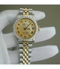 Rolex DateJust 68273หน้าปัดมุกทองเลขโรมัน พร้อมขอบเพชรหนามเตย