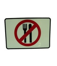 ตัวแผ่นป้ายพลาสติกสัญลักษณ์ ห้ามนำอาหารเข้ามาทาน