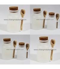 กระปุกพลาสติกสีขุ่น จุกไม้ก็อก (กระปุกน้ำผึ้ง)