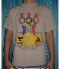 เสื้อยืดอดิดาสผ้า 50/50 ลายเทาทราย Summer Olympic 1988 Vintage Adidas tee size L สกรีนเต็มทั้งหน้าหล