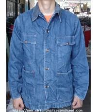 เสื้อแจ๊คเก็ต Vintage 80s Big Mac Workwear Jacket JCPenny Overall size L 3 ตะเข็บ