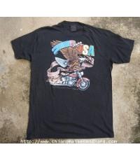 เสื้อสามดีผ้าบาง Born in the U.S.A. Longview 1986 3D Emblem Vintage T-shirt size L สกรีน 2 หน้า