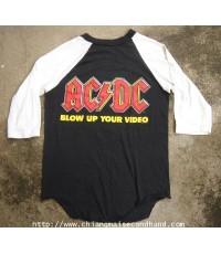 เสื้อวงผ้าบางแขนสามส่วน ACDC Blow Up your Video World Tour 1988 Vintage T-Shirt size S สกรีนหน้าหลัง