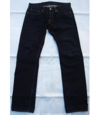 กางเกงยีนส์ Eternal Comfortable Japanese Jeans 34x33 ผ้าขึ้นขนสีเข้มจัดเอวต่ำ เป็กหลัง กระดุม ริมแดง