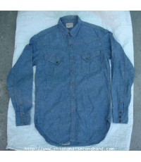 เสื้อเชิ้ต Joe McCoy Western Wranchman Shirt Lot 106 Chambray Blue Denim Sz.M Gripper DOT Snap