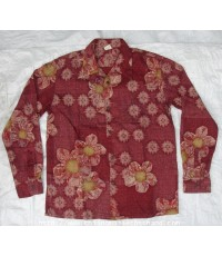 เสื้อเชิ้ตพิมพ์ลายดอก Eternal Shirt Kurashiki Kojima Made in Japan Sz.M กระดุมไม้ สวยมาก