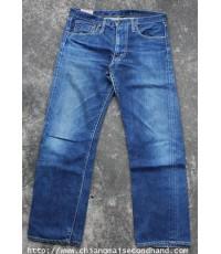 กางเกงยีนส์ผ้าด้านริมกะเทย Edwin Half Salvage Jeans Pant 33x27.5 Made in U.S.A. Scovill Talon