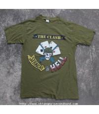 เสื้อวงพังค์ผ้าบาง Vintage Clash Double A Side Single 50/50 T-Shirt 1984 Sz.M STRAIGHT TO HELL!!!