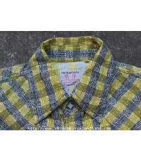 เชิ้ตกระดุมมุกเเหลี่ยมชายต่อริม The Flat Head Western Shirt Sz.M Pearl Snap Gusset Gripper Scovill