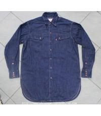 เชิ้ตยีนส์ลีวายส์เขาสั้นริม Repro Levis Western Wear Short Horns Jeans Shirt Sz.M Japan Scovill