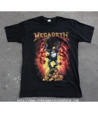 เสื้อทัวร์ผ้า 50/50 MEGADETH OXIDATION OF THE NATIONS TOUR 1991 T-SHIRT Sz.M สกรีนหน้าหลังเต็มๆ