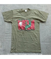 เสื้อยืดผ้าเขียวบาง 50/50 Vintage 1987 The Devils Paradise NAM A Hell To Remember T-Shirt Sz.S