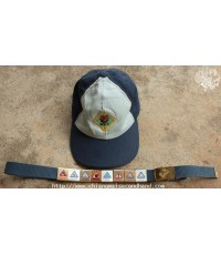 หมวกลูกเสือพร้อมเข็มขัด Bear Cap Twill Sz.S/M Club Scout BSA Solid Brass Belt 8 Loops Made in USA