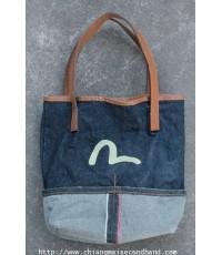 กระเป๋าผ้ายีนส์สายหนัง Evisu Mini Tote Salvedge Denim Bag 12x10.5 ริมขาวแดง
