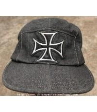 หมวกแก็ปโลโกกองทัพเยอรมัน Iron Cross Logo 5 Panel Black Denim Caps New York Hat Co. Made in U.S.A.