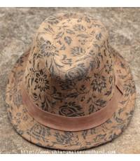 หมวกฟีโดราลายวินเทจ GRACE Belted Plaid Fedora Hat Sz.56cm. สภาพดี สีเหลื่อม เหมือนไม่เคยสวมใส่