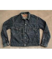 แจ๊คเก๊ตยีนส์ผ้าด้าน BARTACK 2 Pockets Denim Jacket Sz.L Sanforized Japan Dark Indigo เข้มจัด