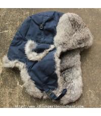 หมวกปิดหูขนกระต่ายแท้ของใหม่ Rabbit Fur Ushanka Earflap Trapper Hat Sz.55-58 cm. Pelliccia Coniglio