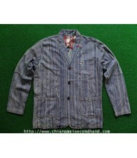 แจ็คเกตบางทรงสูทลำลอง ABERCROMBIE STRIPE SUIT JACKET SIZE L MADE IN NOTHERN MARIANA ISLAND