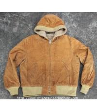 แจ๊คเกตฮู๊ดผ้าลูกฟูกบุขนยุค 70s Vtg. USA Corduroy Hooded Jacket Sz.M/L Talon USA Zipper