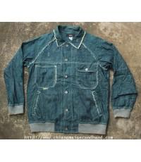 เสื้อแจ๊คเกตยีนส์บาง SCANNER Denim Work Jacket Sz.L Scovill Made in Japan ทำเซอร์ทั้งตัว