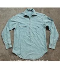 เสื้อเชิ้ตแชมแบรย์ 3 ตะเข็บ Ralph Lauren Polo Sport Chambray Zip Half Pullover Shirt Sz.M
