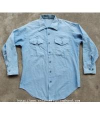 เสื้อเชิ้ตแชมเบรย์ U.S. Navy Shirts Utility MENS CHAMBRAY-TYPE II Sz.M ปั๊มชายเสื้อผ้าบางนุ่มๆ