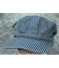 หมวกวิศวกรสร้างทางรถไฟ Locomotive/Railroad Engineer Cap Sz.M/56-57cm. Hickory Stripe Conductor Hat