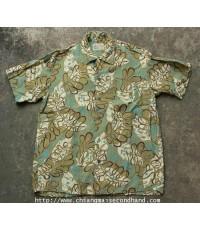 เสื้อฮาวายเรยอนพิมพ์ลาย Sucar Cane Sun Surf Hawaii Rayon Shirt Sz.L Toyo กระดุมไม้ตาแมว