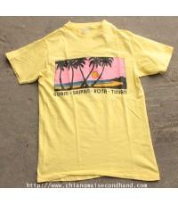 เสื้อยืดผ้าฝ้ายร้อย Vtg. 80s Guam Saipan Tinian and Rota T-Shirt  Hawaii Sz.M ลายสวยจัด