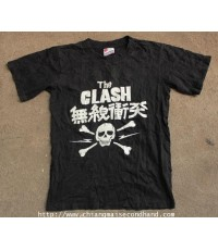 เสื้อวงพังค์ Vtg. The Clash Japanese Skull Live Concert Tour 1982 T Shirt Sz.M Punk United Sport