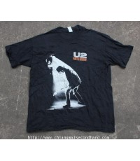 เสื้อวงผ้าร้อยบาง Vtg. U2 Rattle And Hum Tour 1988 T-Shirt Sz.L Made in U.S.A.