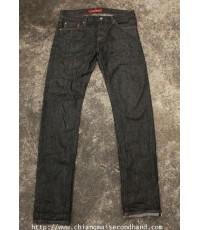 กางเกงยีนส์ดำกระบอกเล็กกระดุมริมแดง UNIQLO Jeans Premium Denim Pant 34x35 ใหม่กริ๊บ